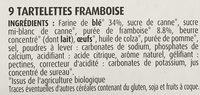 Tartelettes framboise - Ingrédients - fr
