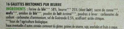 Galettes bretonnes pur beurre bio - Ingrédients - fr