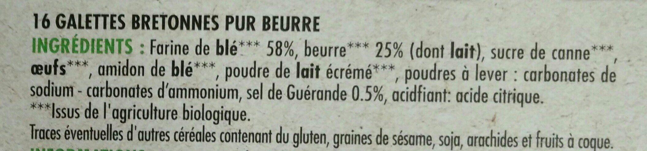 Galettes bretonnes pur beurre bio - Ingredienti - fr