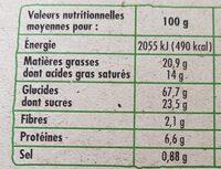 Galettes bretonnes pur beurre bio - Informations nutritionnelles - fr