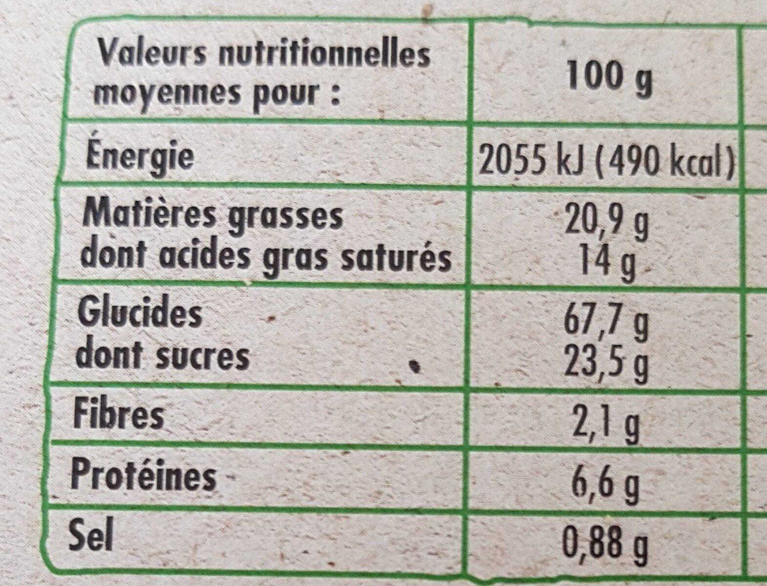 Galettes bretonnes pur beurre bio - Valori nutrizionali - fr