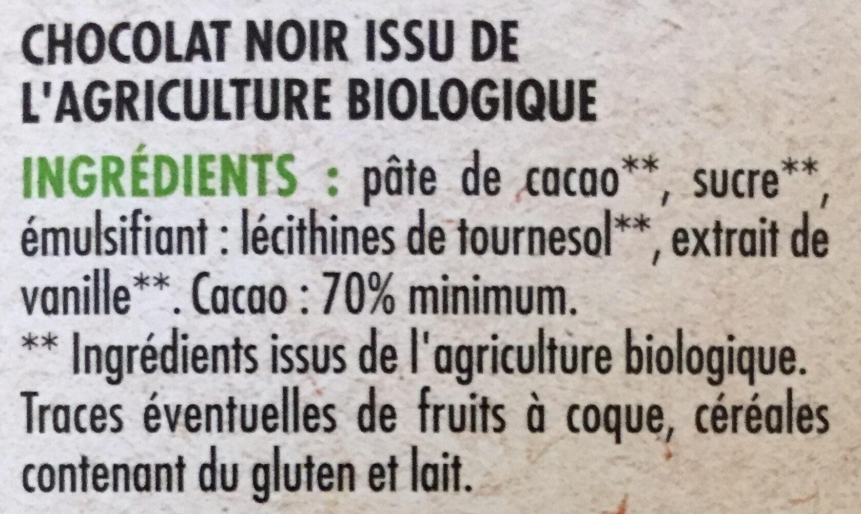 Noir dégustation  70% de cacao BIO - Ingredienti - fr