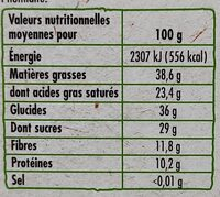 Noir dégustation  70% de cacao BIO - Valori nutrizionali - fr