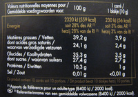 Chocolat noir bio 70% - Informations nutritionnelles - fr
