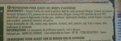 Préparation pour aligot des monts d'auvergne - Ingredienti - fr