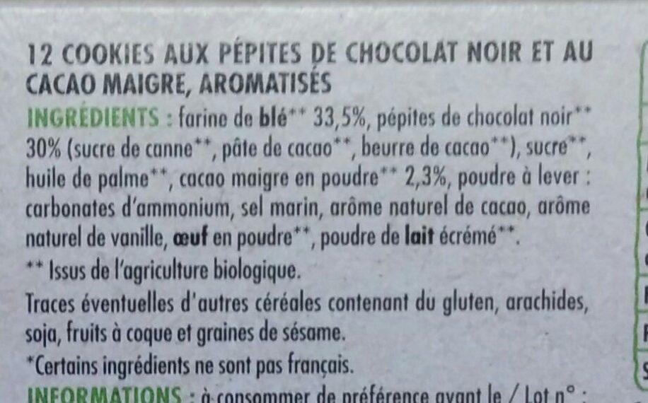 Cookies aux pépites de chocolat BIO - Ingredients - fr