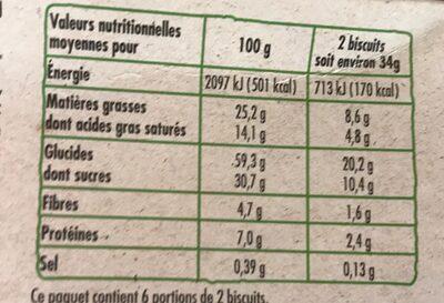 Cookies aux pépites de chocolat BIO - Nutrition facts - fr