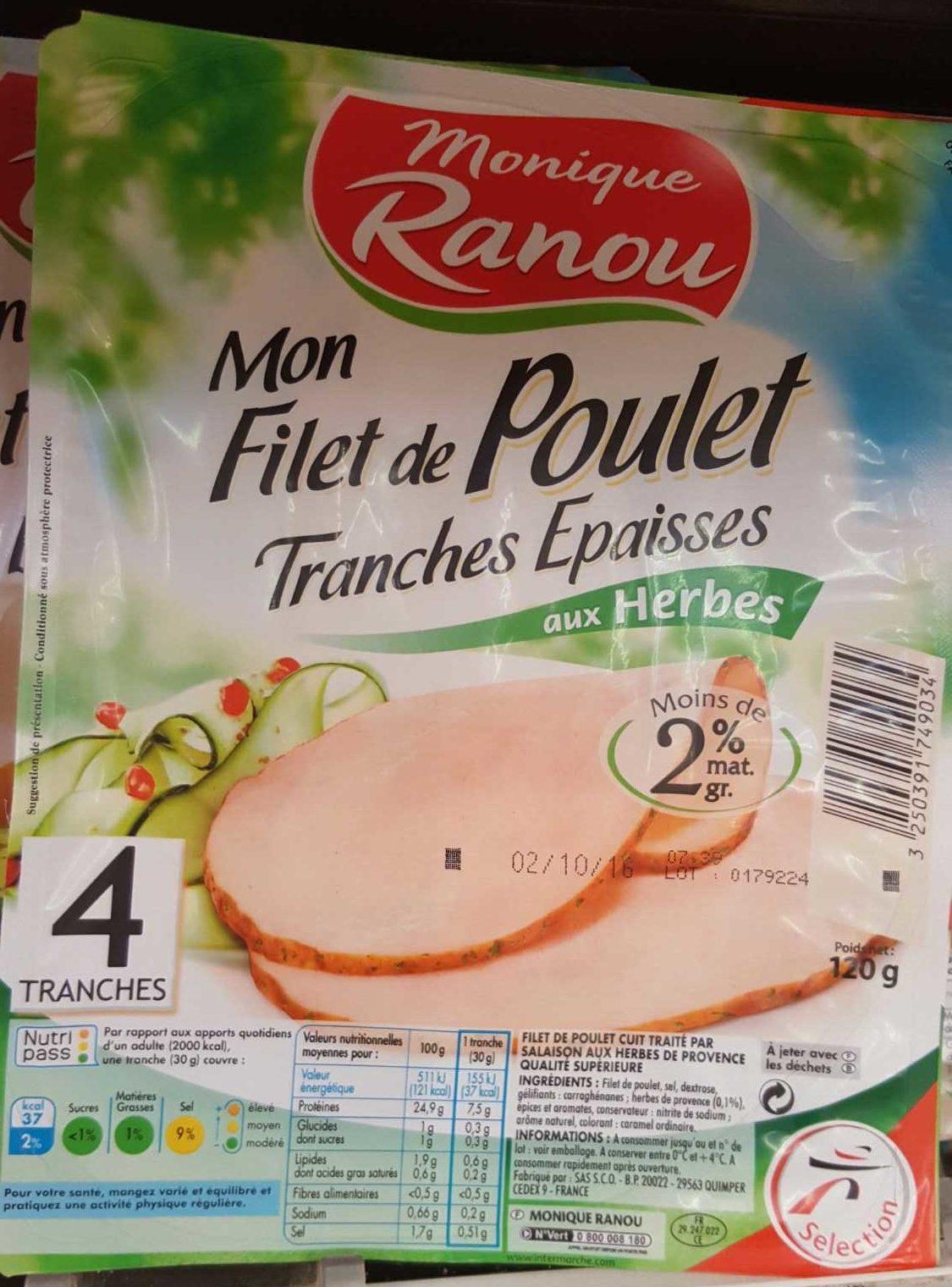 Mon Filet de Poulet Tranches Épaisses aux Herbes (4 tranches) - Produit
