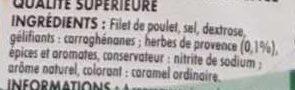 Mon Filet de Poulet Tranches Épaisses aux Herbes (4 tranches) - Ingrédients