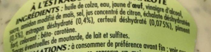 Sauce Bearnaise, le flacon de 350 g - Ingredients
