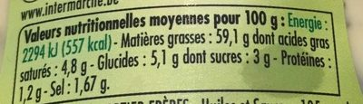 Sauce Bearnaise, le flacon de 350 g - Nutrition facts
