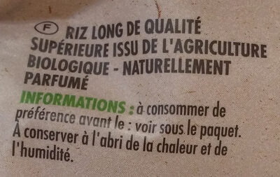 Riz long thaï bio - Ingredienti - fr