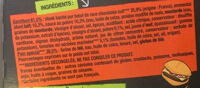 Le charolais Burger viande Charolaise sauce au poivre, 195 g - Ingrediënten - fr