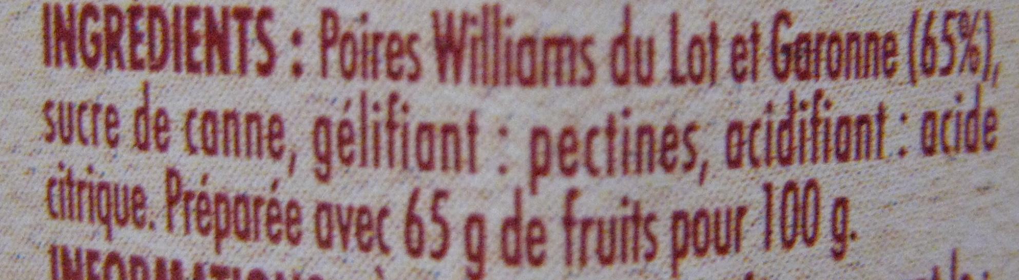 Préparation de Poires Williams du Lot et Garonne - Ingredients - fr