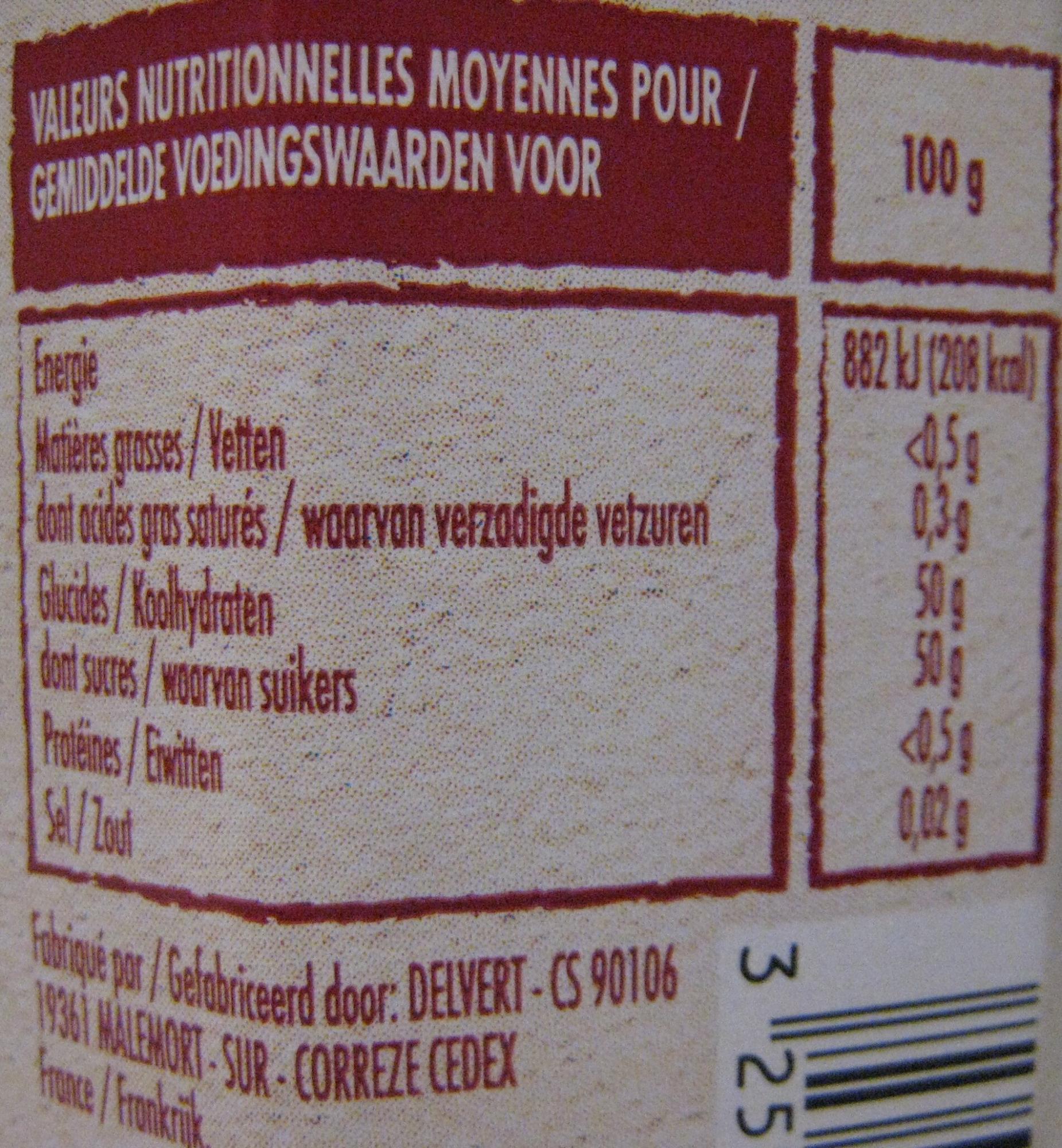 Préparation de Poires Williams du Lot et Garonne - Nutrition facts - fr