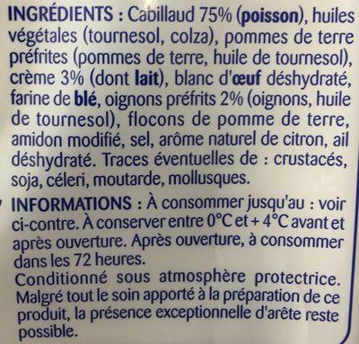 Hachés au cabillaud, crème et oignons - Ingredients