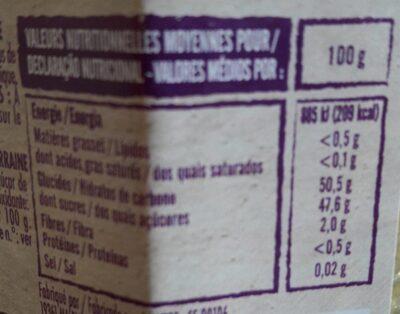Préparation de mirabelles de lorraine - Nutrition facts - fr