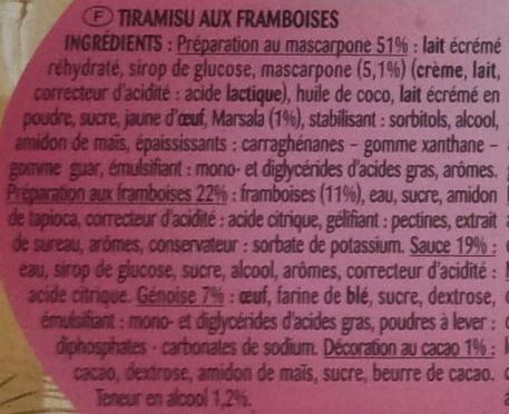 Tiramisu Framboise Les Créations - Ingrediënten - fr