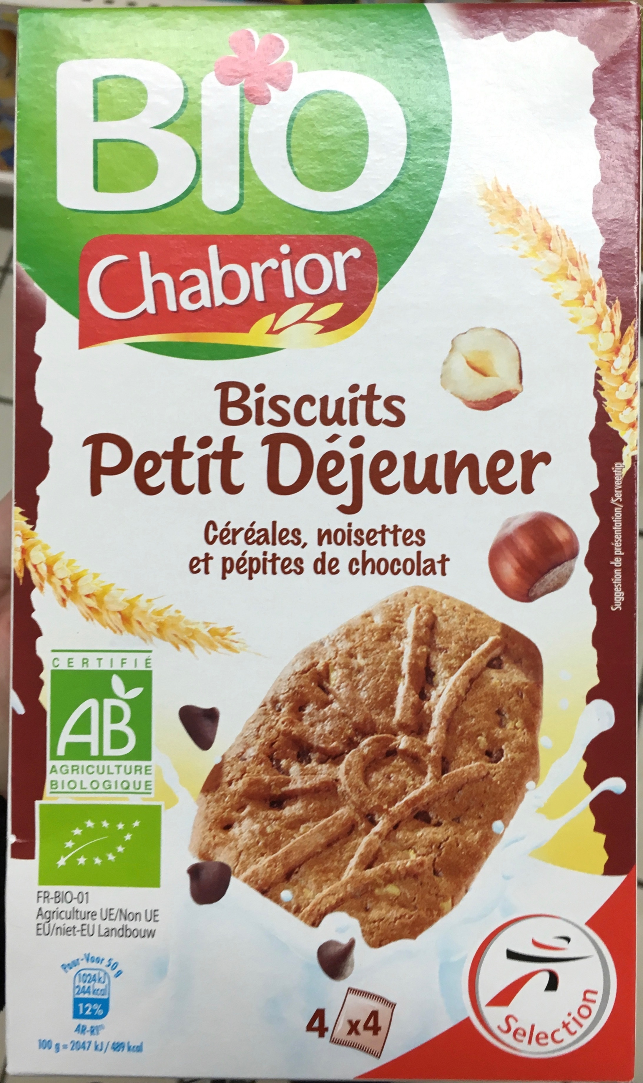 biscuits petit d jeuner c r ales noisettes et p pites de chocolat chabrior 200 g. Black Bedroom Furniture Sets. Home Design Ideas