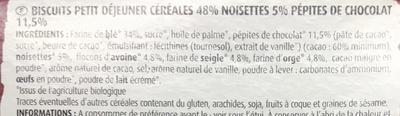 Biscuits petit déjeuner céréales pépites chocolat - Ingrédients - fr