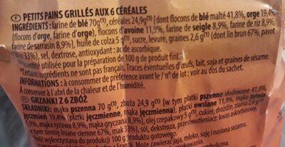 Chabrior Petits pains grillés 6 céréales - Ingredients - fr