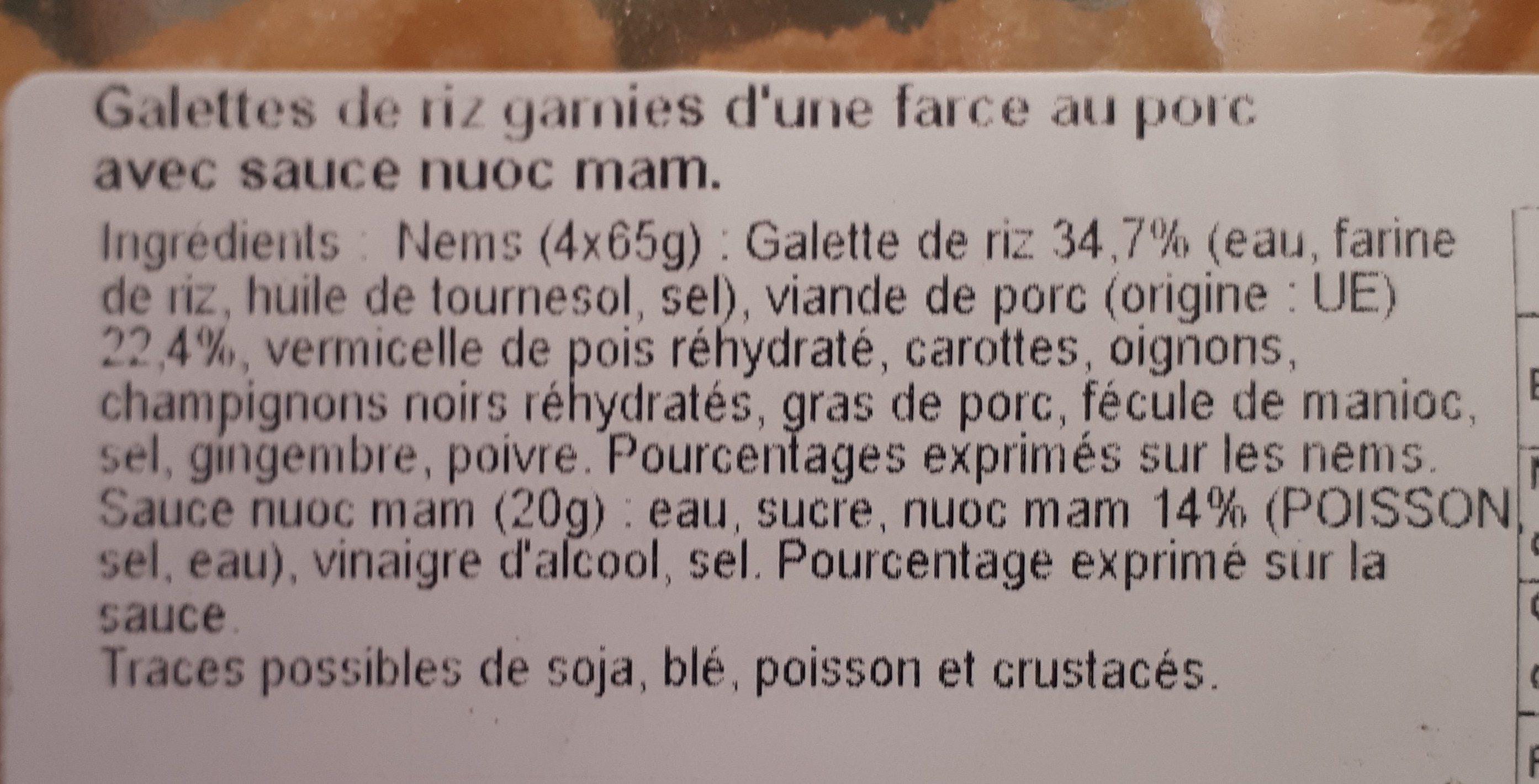 Nos Recettes Traiteur Nems porc + sauce Nuoc Mam les 4 nems de 65 g - Ingredients - fr