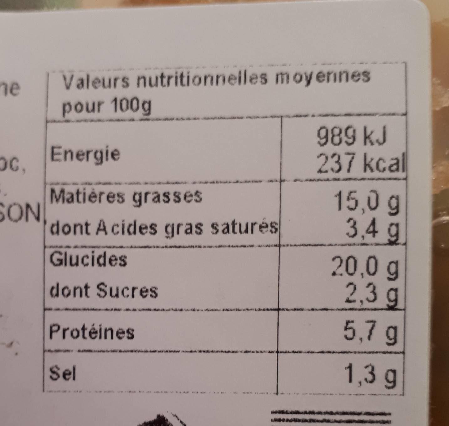 Nos Recettes Traiteur Nems porc + sauce Nuoc Mam les 4 nems de 65 g - Nutrition facts - fr