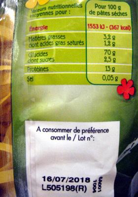 Tagliatelles aux œufs - Informations nutritionnelles - fr