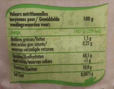 Farine blanche - Voedingswaarden