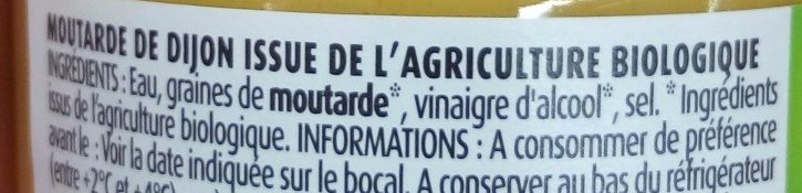 Moutarde de Dijon bio - Ingrediënten - fr