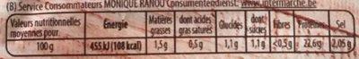 Rôti de Poulet 100% Filet - Nutrition facts - fr