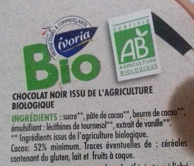 Tablette Bio dessert chocolat noir 52% - Ingrédients