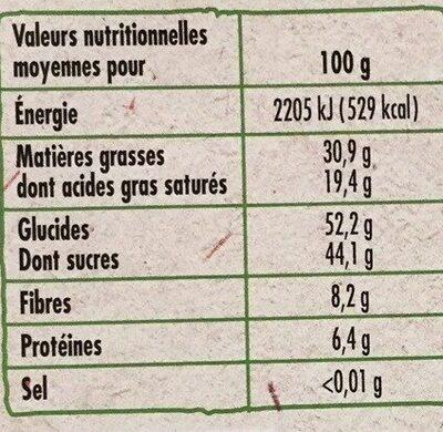 Tablette Bio dessert chocolat noir 52% - Informations nutritionnelles