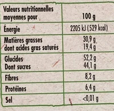 Tablette Bio dessert chocolat noir 52% - Valori nutrizionali - fr