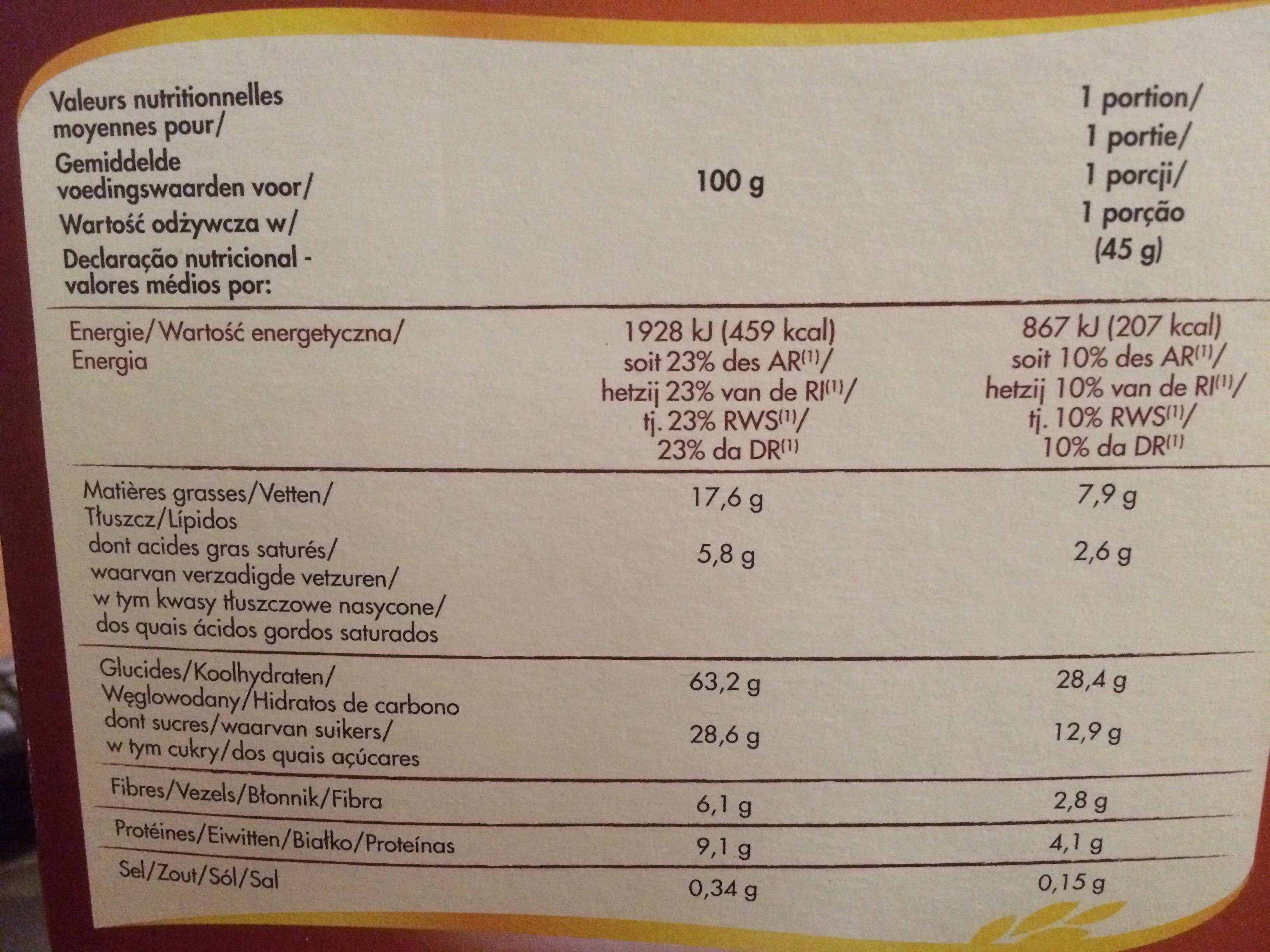 Crisp Muesli 2 Chocolats et Caramel - Informations nutritionnelles - fr