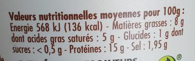 Cancoillotte de Franche-Comté nature - Nutrition facts
