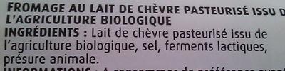 Bûche de chèvre (21 % MG) - Ingrédients - fr