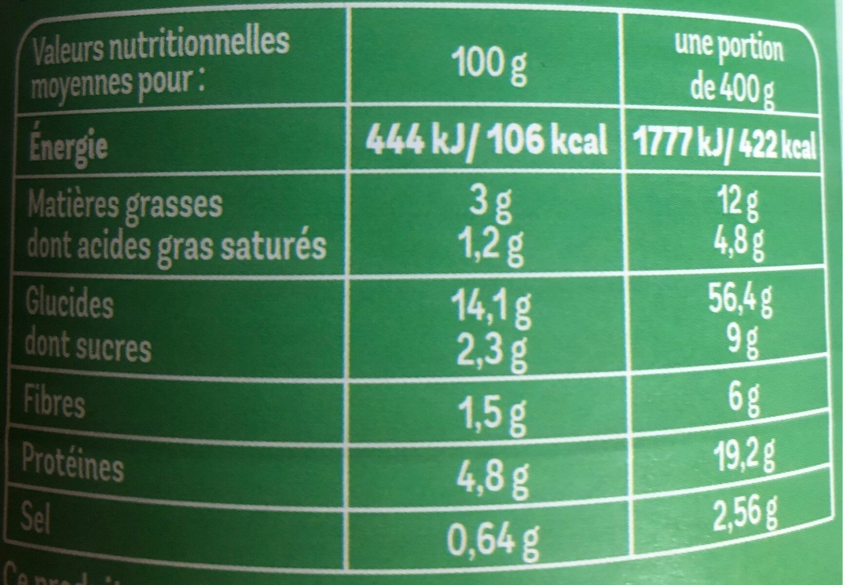 cannelloni pur bœuf - Nutrition facts - fr