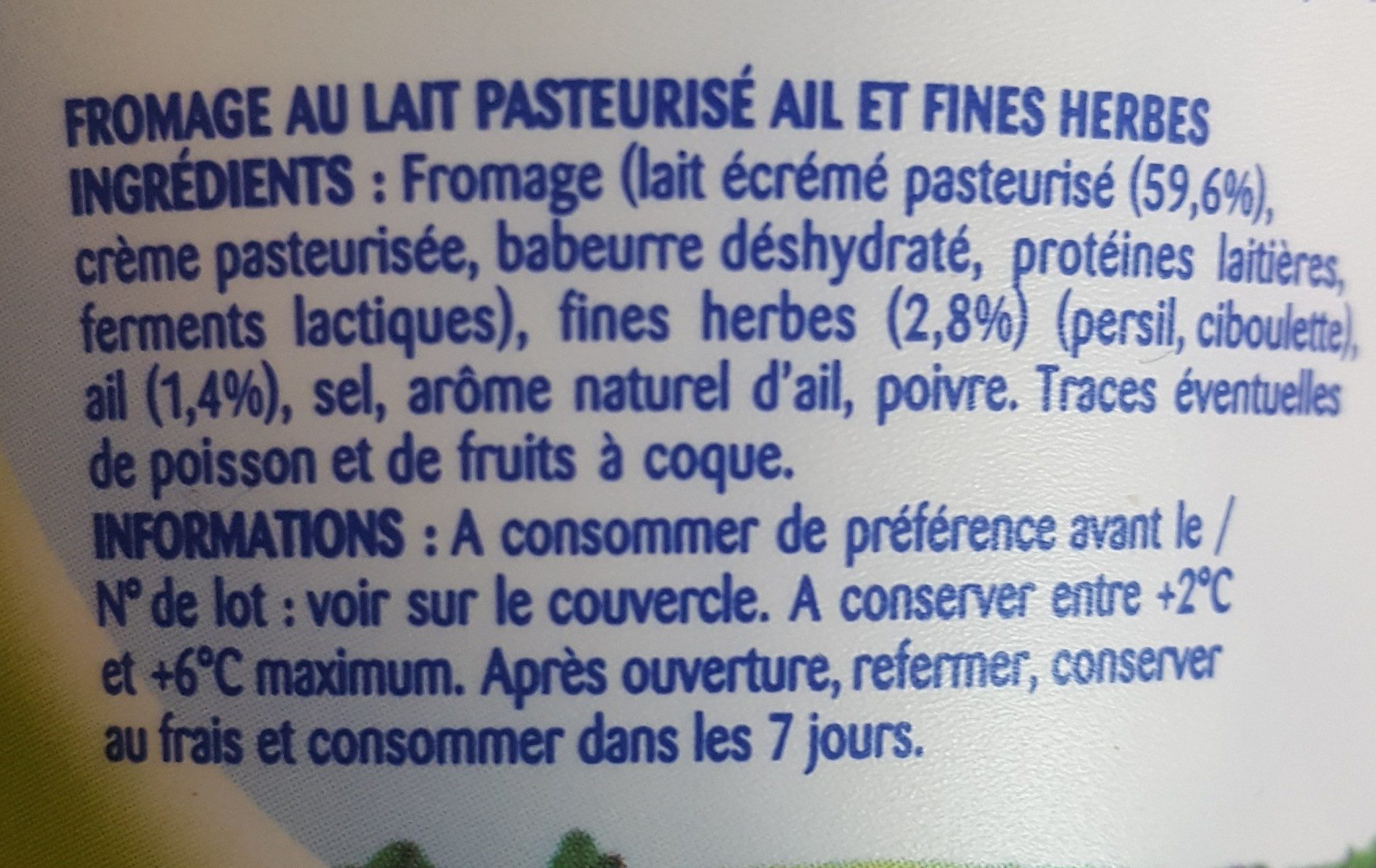 Pâturages Printendre ail et fines herbes - Ingredients