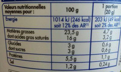 Pâturages Printendre ail et fines herbes - Nutrition facts