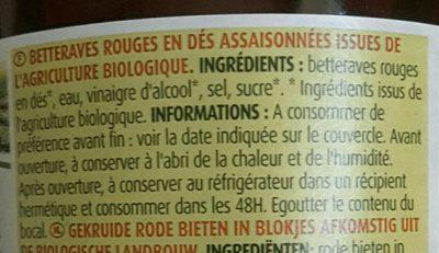 Betteraves rouges en dés assaisonnées - Ingredients