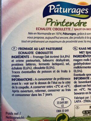 Printendre échalote ciboulette - Ingrédients - fr