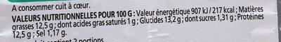 Filet de Limande du Nord Meunière - Nutrition facts