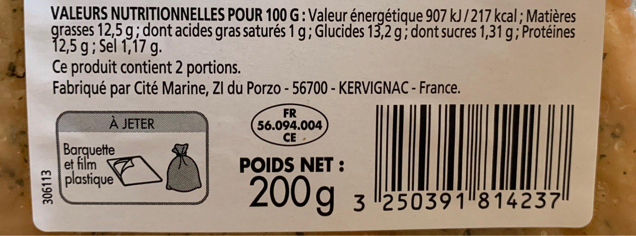 Filet de Limande du Nord Meunière - Voedingswaarden - fr