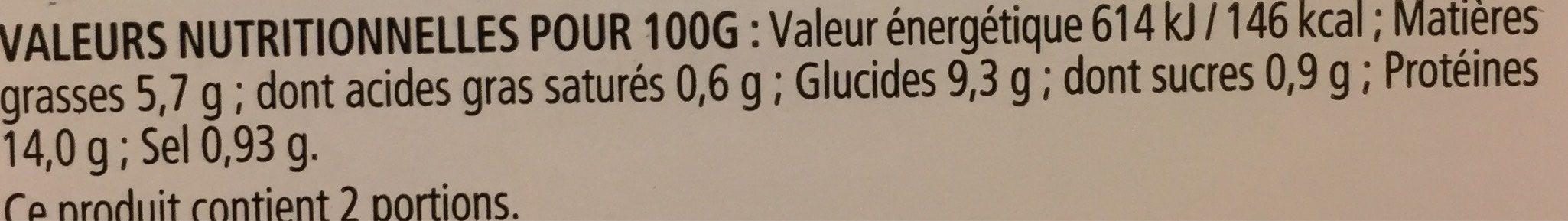Filet de Merlu Blanc Meunière - Informations nutritionnelles