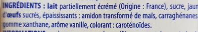 Crème Anglaise prête à l'emploi - Ingrédients - fr