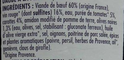 Daube à la Provençale - Ingrédients