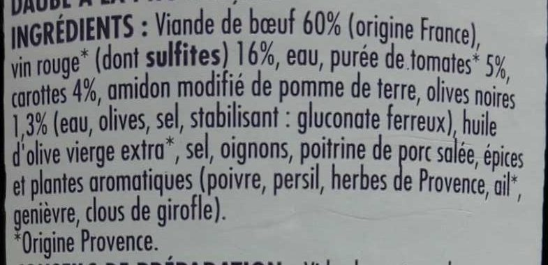 Daube à la Provençale - Ingrédients - fr