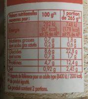 Mogette cuisinée à base de Mogette de Vendée Label Rouge - Valori nutrizionali - fr
