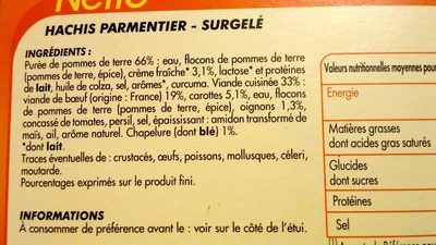 Hachis Parmentier Surgelé - Ingredients